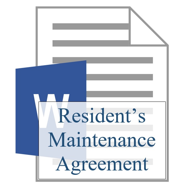 Residents Maintenance Agreement - Resident Sign Up - Training - maintenance agreement