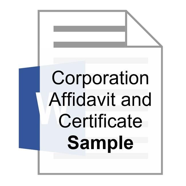 Corporation Affidavit and Certificate Sample Training Property