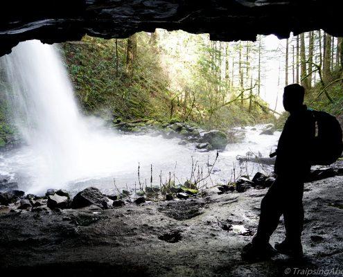 Ryan beneath the roaring Upper Horsetail Falls.