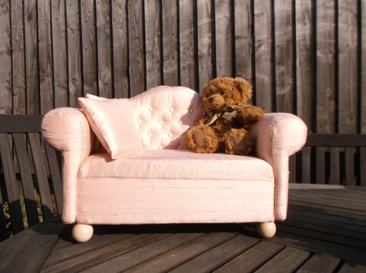 peach pink silk button settee vintage style doll size