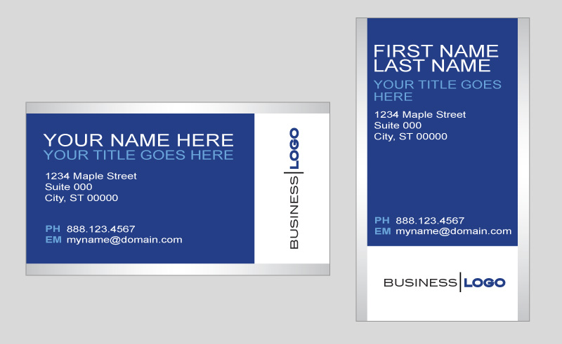 Generic blue and silver business card template in vector format - name card format