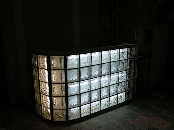 Pose de briques de verre