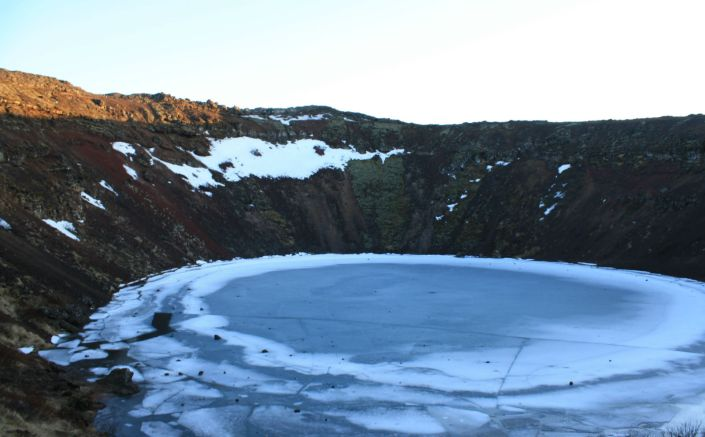 The Striking Lake of Iceland's Kerið Crater Volcano