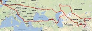 In just two weeks we raced from London through northern Europe, Kazakhstan and Uzbekistan to Dushanbe, the Tajik capital. About a month later we set off on a circuitous and eventful month-long journey home, crossing the Caspian, dipping our toes in the Black Sea and skipping through the Balkans.