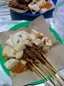 Last ever dinner in Indonesia: satay and rice