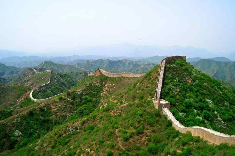 The Great Wall of China, set amongst the mountains