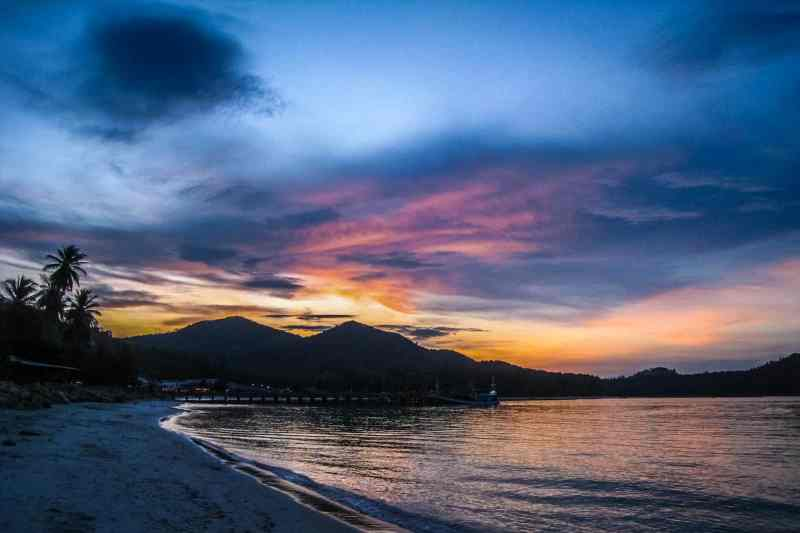 Traveling the world. Sunset on Koh Phangan, Thailand.