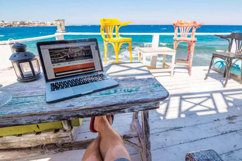 Working on my travel blog on the Red Sea in Dahab, Egypt.