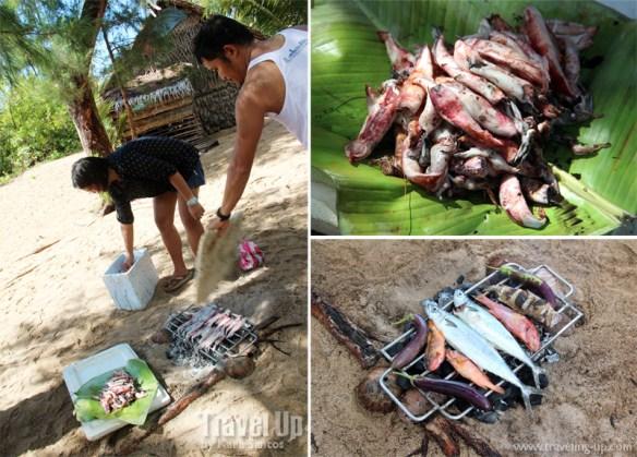 jomalig quezon cooking bbq squid fish