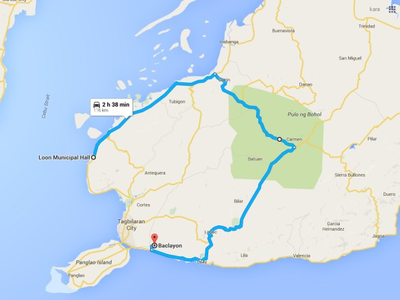 bohol by motorcycle route map day2