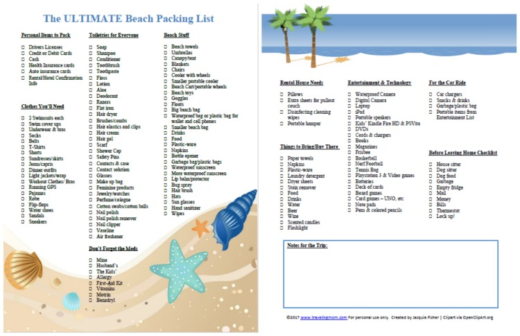 The Ultimate Family Beach Vacation Packing List (and Printable - Vacation Packing List Printable