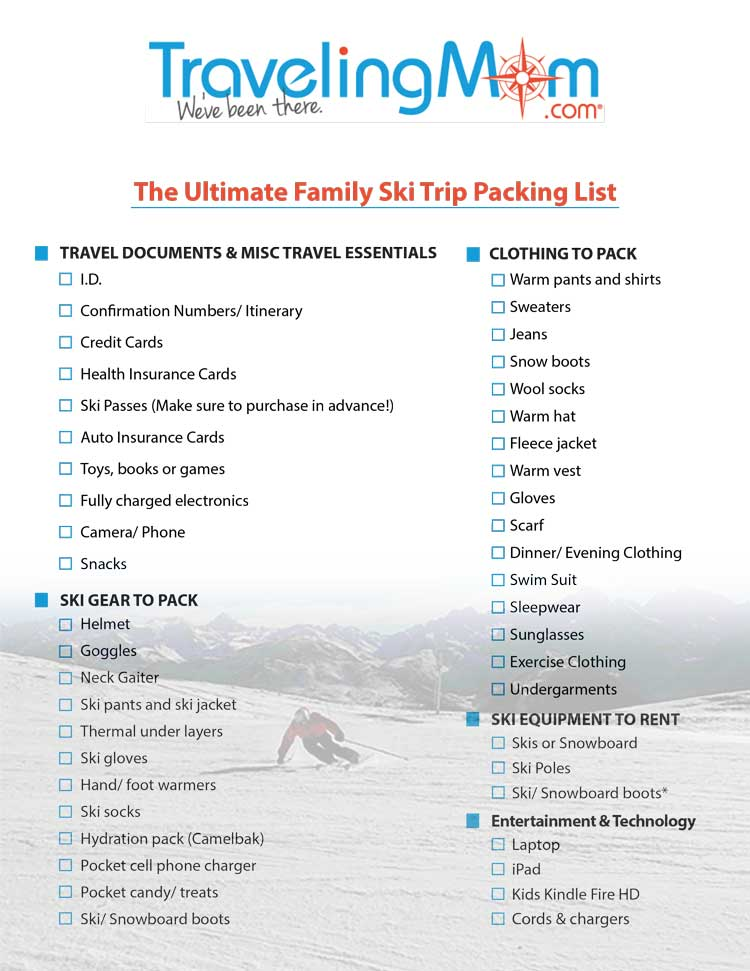 The Ultimate Family Ski Trip Packing List Downloadable List