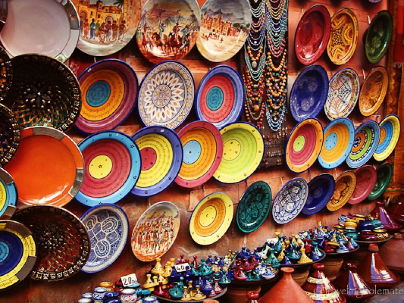 Colorful ceramics in Marrakech souk
