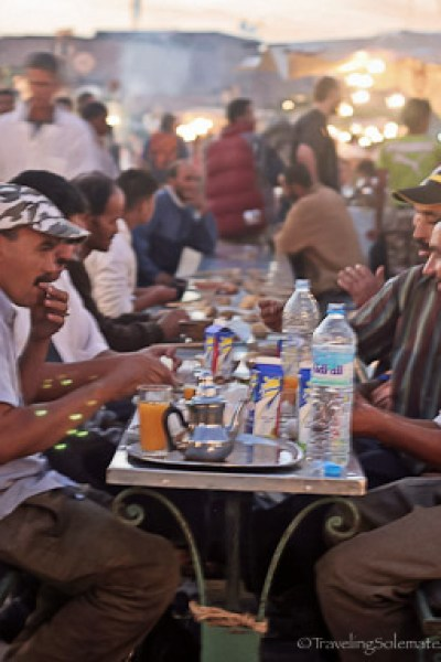 People eating at at Djemaa el Fna Square in Marrakesh