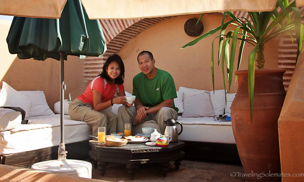 Couple on Rooftop of Riad Habiba in Marrakesh