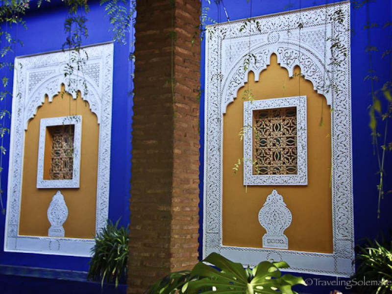 Windows in Majorelle Garden in Marrakech