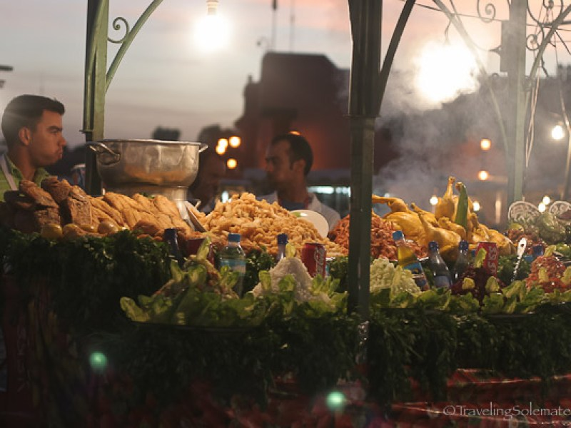 Food stall in Djemaa el-Fna Marrakesh