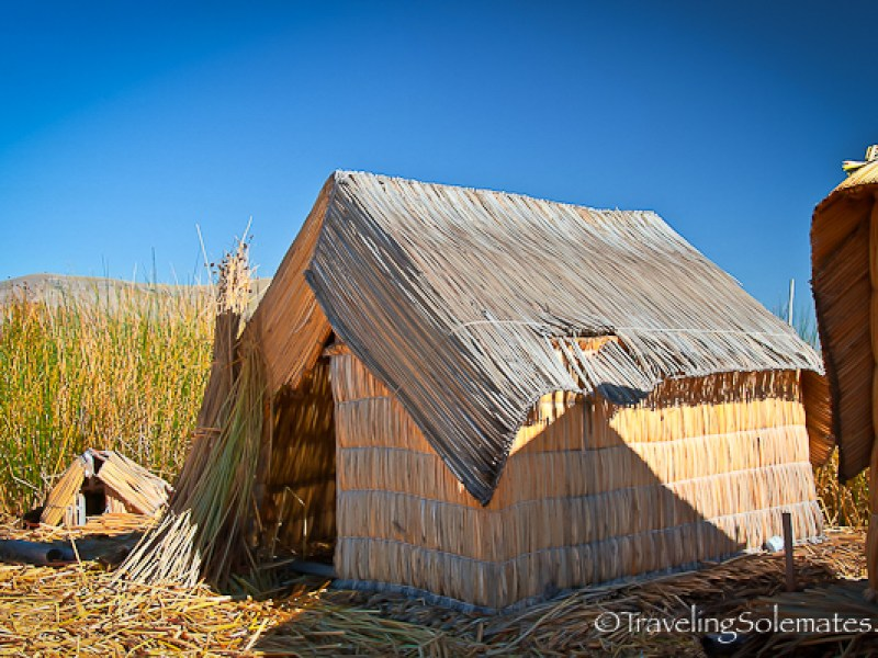 A house on Floating Island of the Uros on Lake Titicaca, Peru