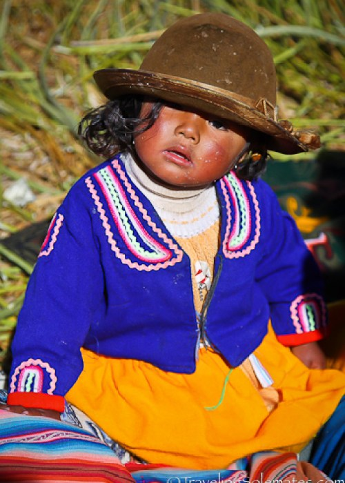 Girl on Floating Island of the Uros, Lake Titicaca, Peru