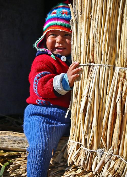 Little Boy on Floating Island of the Uros, Lake Titicaca, Peru