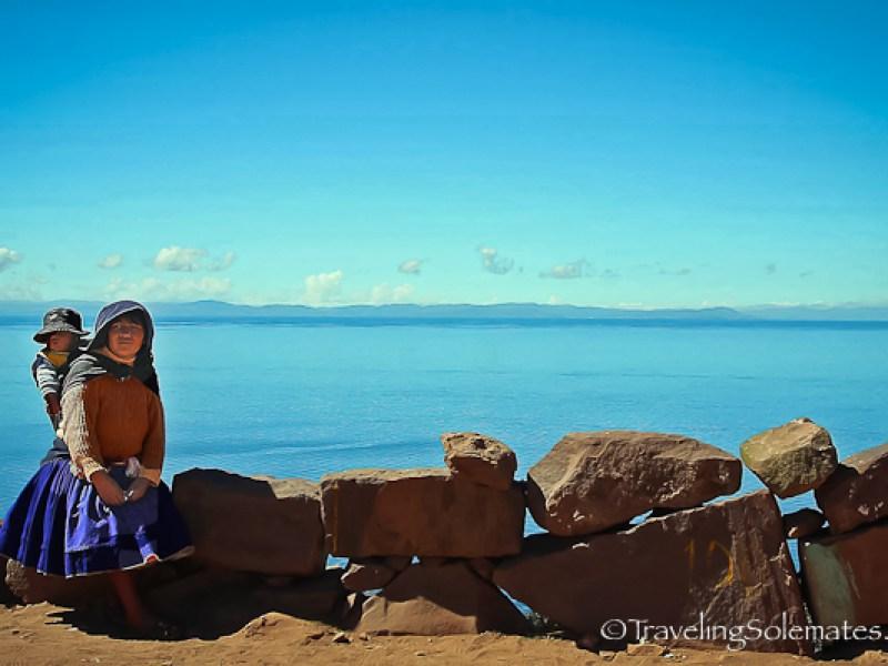 Woman and child on Taquile Island, Lake Titicaca, Peru