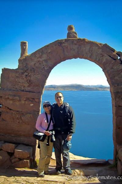 The arches of Taquiie Island, Lake Titicaca, Peru