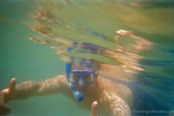 Snorkeling in devil's crown in Galapagos Islands