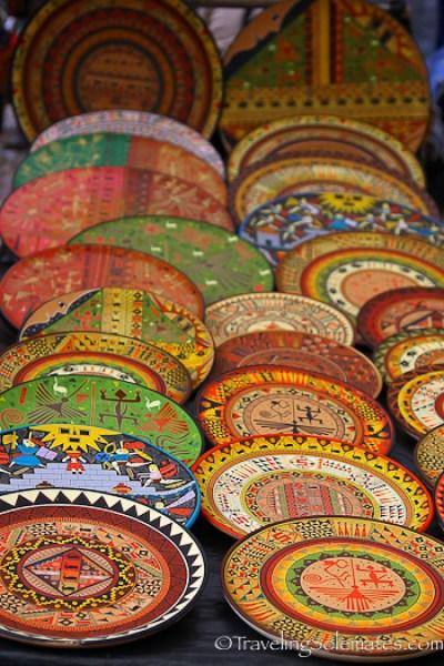 Coloful plates for sale at Pisac Market in Peru