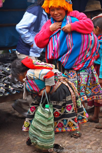 Shopping for shoes at Pisac Market in Peru
