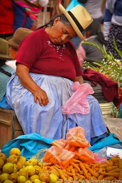 Sleeping vendor at Pisac Market, Peru