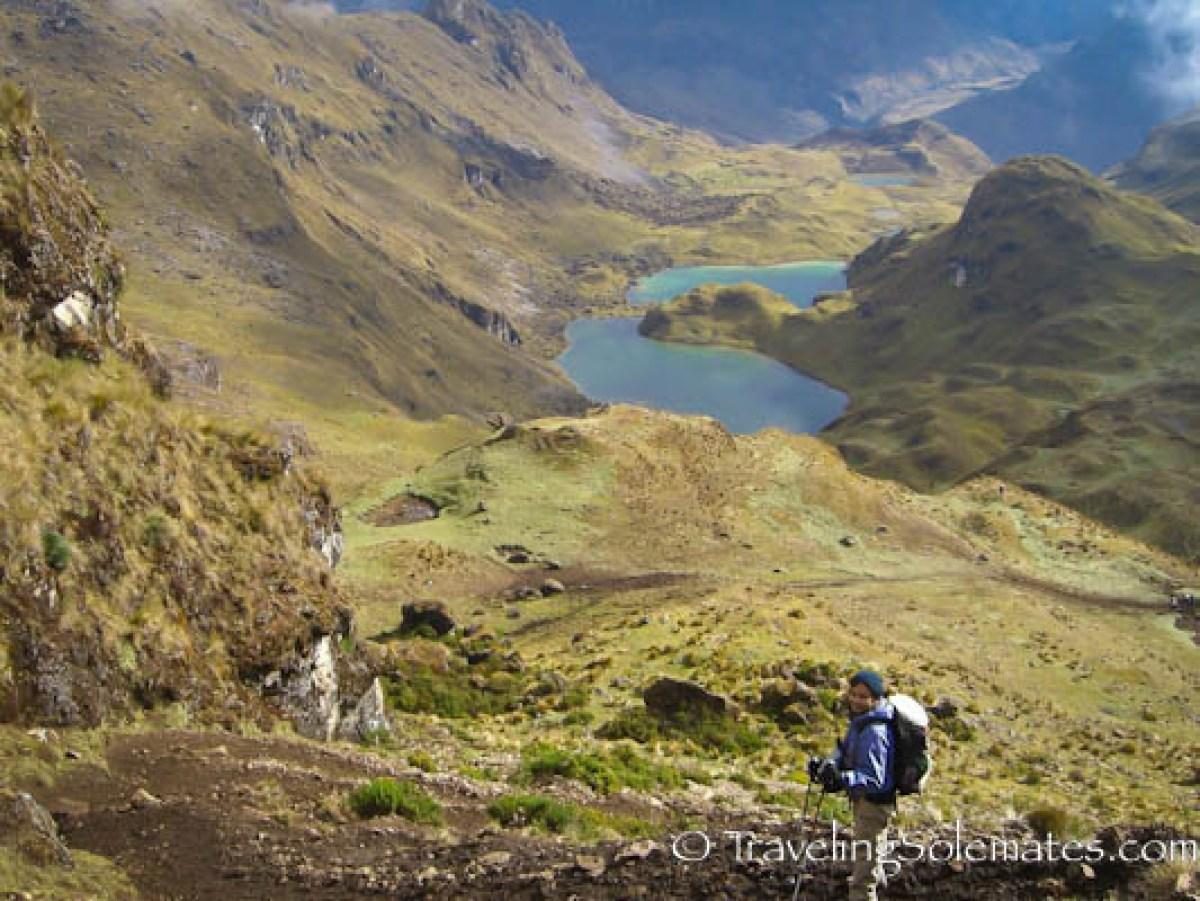 Descending from Hualcajasa Pass,  Lares Valley Trek Peru