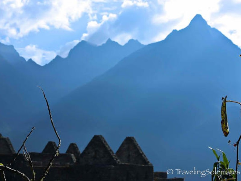 View of mountain peaks from Machu Picchu