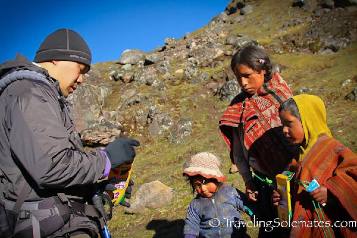 School children on Lares Valley Trek Peru