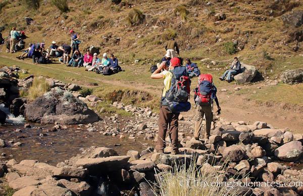 Trekkers resting on Lares Valley Trek Peru