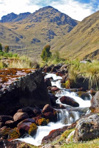 Mountain stream on Lares Valley Trek Peru