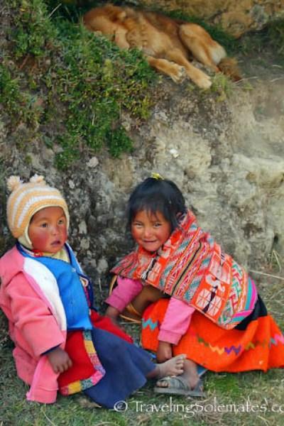 Children in Patacancha village Lares Valley Trek Peru