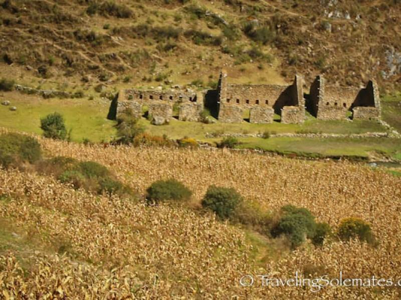 Inca ruins in corn field in Pitacancha, Lares Valley Trek Peru
