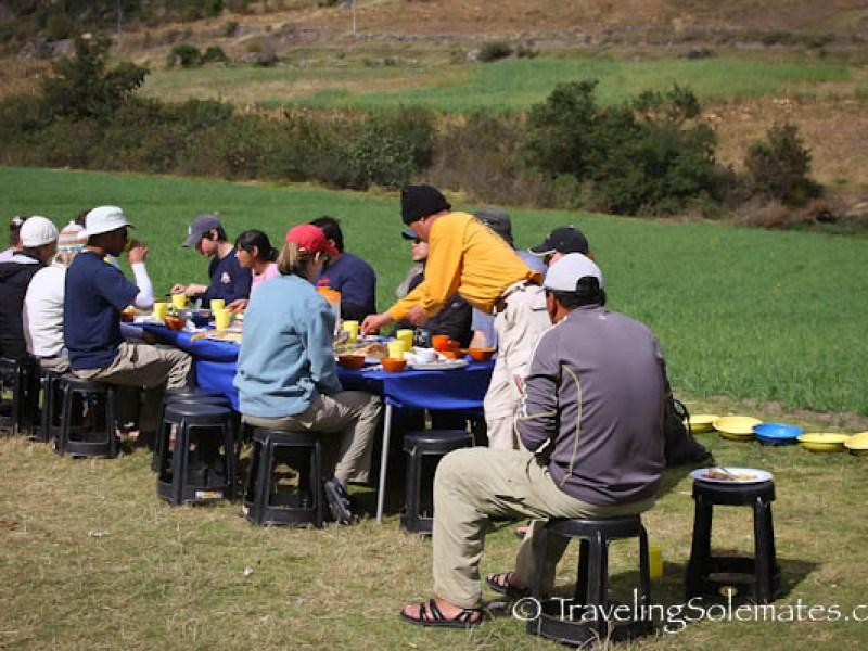 Lunch stop in Pitacancha on Lares Valley Trek Peru