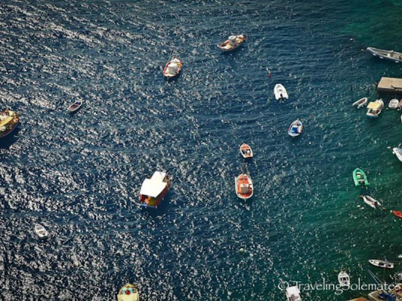 Boats on Port of Ahmoudi, Santorini, Greece