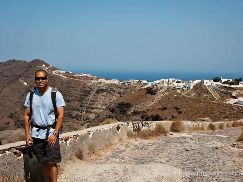 Hiking trail in Santorini, Greece