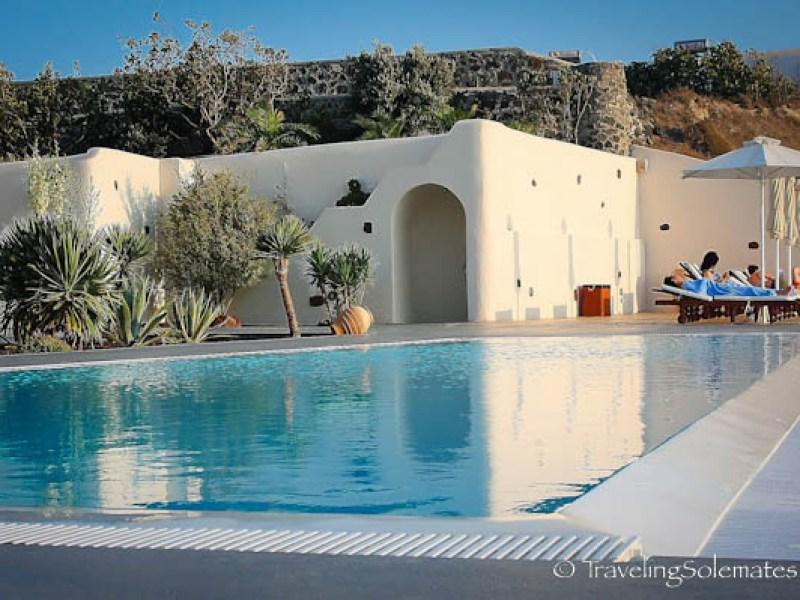 Pool at Anastasis Apartments in Imeovigli, Santorini, Greece