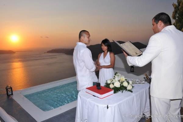 Sunset Wedding in Santorini, Greece