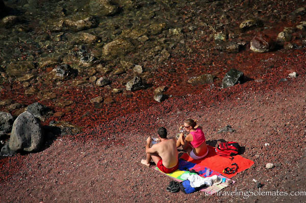 Bathers on the Red Beach, Santorini, Greece