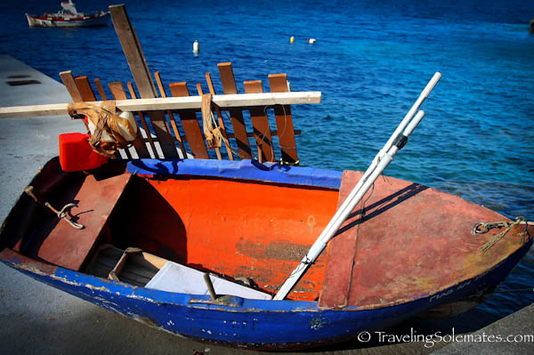 A boat in port of Ammoudi, Santorini, Greece