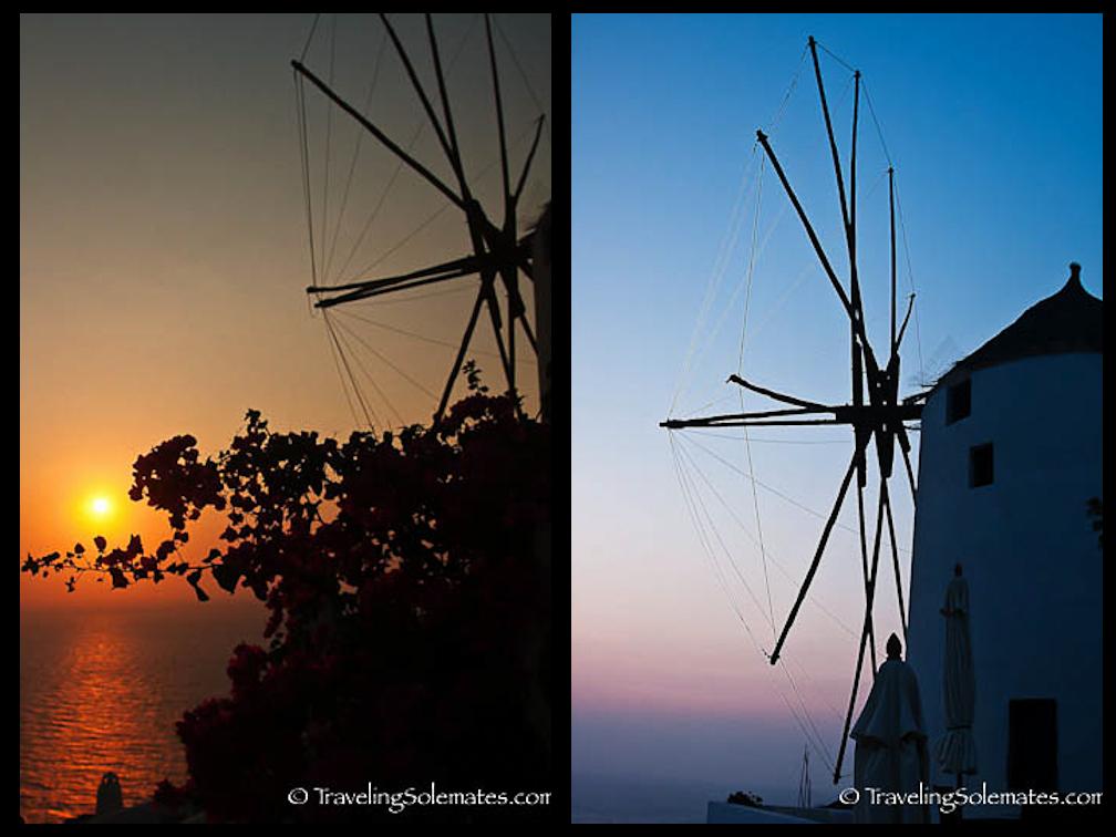 Sunset and Twilight in Oia, Santorini, Greece