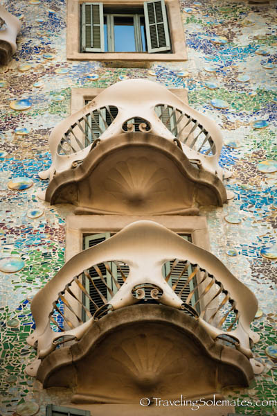 Terraces of Gaudi's Casa Battlo, Barcelona, Spain