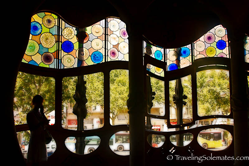 Windows of Gaudi's Casa Battlo, Barcelona, Spain
