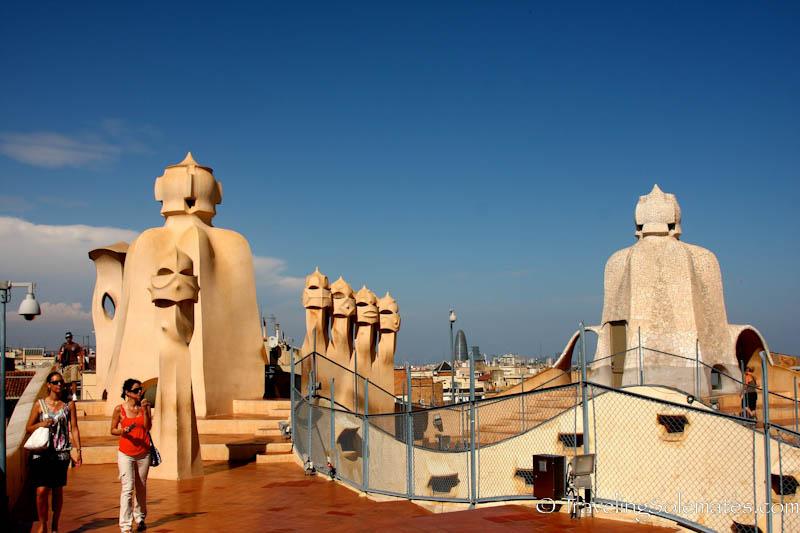 Rooftop of Gaudi's Casa Mila (Casa Pedrera), Barcelona Spain