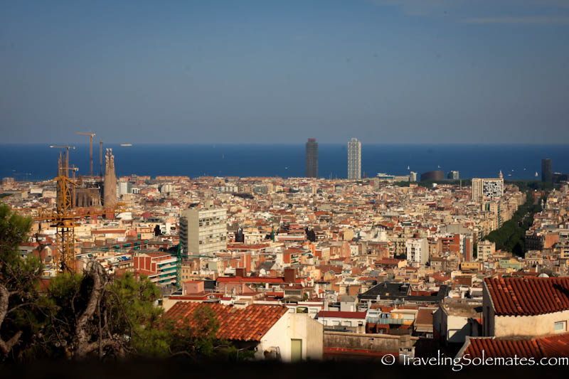 View of Barcelona from Gaudi's Parc Guell, Barcelona, Spain