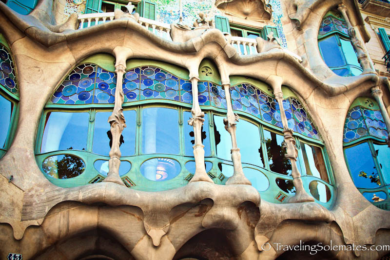 Facade of Guadi's Casa Battlo, Barcelona, Spain